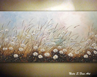 "Large Artwork 24""x48""Original Wildflower Painting.Palette Knife.Impasto.Contemporary Daisy Painting,Wildflower Field.Wall Hanging by Nata S."