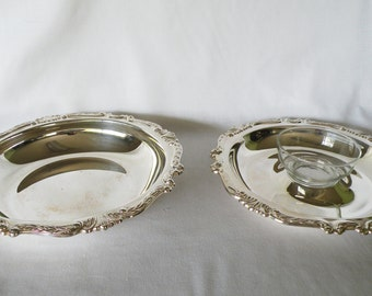 Silverplate Chip and Dip Bowls - Serving Dishes - Wedding Decor, Home Decor, Holiday Server, Dining Room Accessory