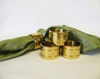 Brass Napkin Rings - Set of Four Napkin Rings - Napkin Holders, Wedding Decor, Tabletop Decor, Holiday Server, Dining Room Accessory