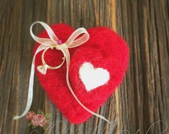 Red Wool Heart Ring Pillow Valentine Proposal Ring Heart Red Engagement Pillow Ring Bearer Cushion Valentines Day Christmas