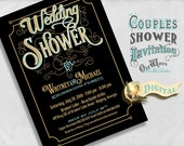 Wedding Shower Invitation - Black and Gold, Vintage Couples Shower Invite - Printable Custom Bridal Shower Invite 5x7 JPEG or PDF