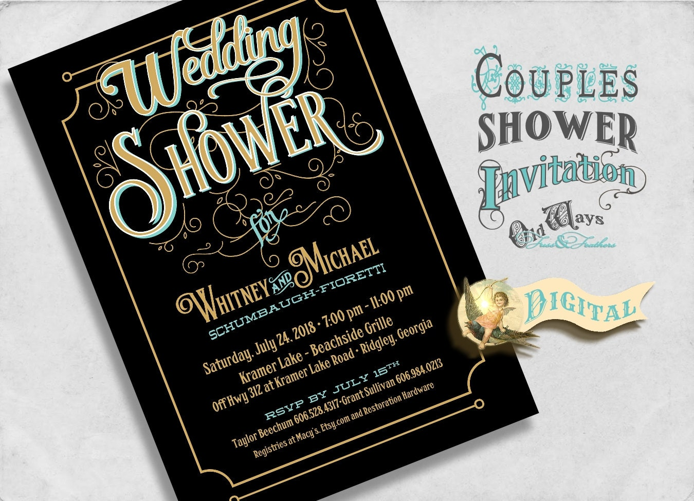 Wedding shower invitation black and gold couples shower for Black and gold wedding shower invitations