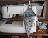 Scissor Holder Hanging Aqua GrayTan Print Gray Trim Spool and Scissor Button Sewing Storage Organizer