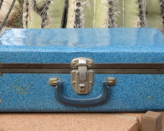 Small Metal Blue Suitcase