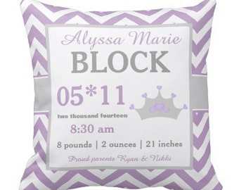 Princess Purple Chevron Birth Announcement Pillow Cover and Insert - YOU CHOOSE COLORS