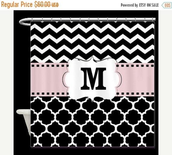 ON SALE Pink Black Quatrefoil Chevron Monogram Fabric Shower Curtain ...