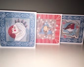 Christmas Cards Set of 3 - RUDOLPH, ROBIN, SNOWQUEEN - festive alternative painted illustrated greeting cards