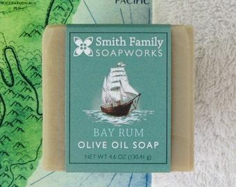 Bay Rum Soap, Men's Soap, Handmade Soap, Olive Oil Soap Bar, Cold Process Soap, Men's Gift, Valentine's Gift