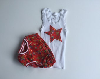 Christmas singlet and nappy cover set size 0 6 - 12 months baby outfit