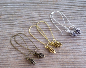 Pine Cone Earrings, Fall Jewelry, Tiny Pinecones, Choice of Antiqued Brass, Copper, Gold, Silver Pine Cone Jewelry, Pierced Dangle Earrings