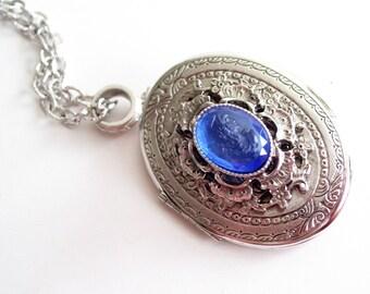 Vintage Silver Locket, Whiting Davis Locket, Vintage Cameo Locket Pendant Necklace, Silver Oval Locket, Photo Locket, Mourning Locket