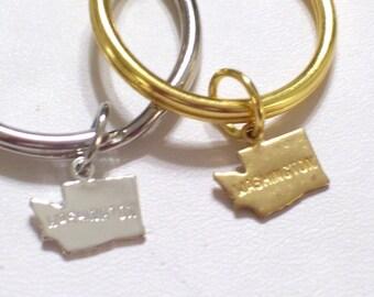 WASHINGTON Keychain, Gold WASHINGTON State Charm Keychain, Silver Washington Key Ring, Silver State Keychain, Washington Charm