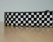 """Rudy, black and white checkerboard, large, 1.5"""" wide martingale (greyhound) collar, extra strong, ska, retro"""
