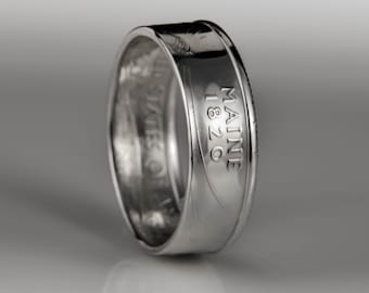 Maine Quarter - Coin Ring - SILVER (.900)
