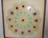 Vintage Linen Framed Doiley Framed Crochet Wall Art