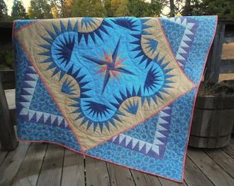 Golden Harvest Quilt, Blue and Purple Quilt,  Paper Pieced Quilt, Blue and Gold Quilt