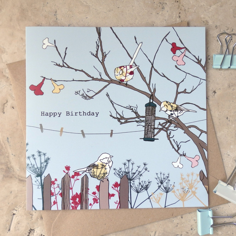 happy birthday card garden birds design birthday card