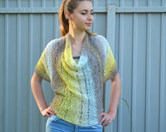 Womens Hand Knit Poncho, Ombre yellow blue gray, Shawl Wrap, Holiday Fashion, Summer Spring Poncho, teenagers, Size S - L, oversized
