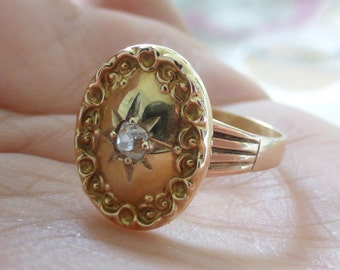 Antique Victorian Old mine cut square cushion diamond repousse ring. Size 8.5