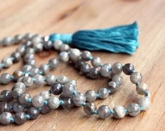 Labradorite Mala Necklace - Prayer Beads Meditation Mantra 108 Mala Yoga Japa Hindu Knotted Rosary