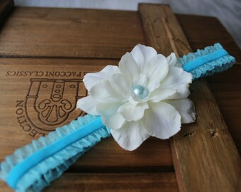 newborn photography prop - Newborn baby girl blue turquoise elastic headband with off white flower, photo prop-baby shower gift