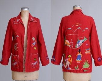 1940s Mexican Souvenir Embroidered Red Wool Jacket