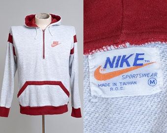 80s NIKE Hoodie Quarter Zip Made in Taiwan Crimson and Grey Two Tone Hooded Sweatshirt