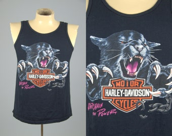 90s Harley Davidson 3D Wildcat Cant Chan the Power 1992 Beartooth Montana Biker Tank