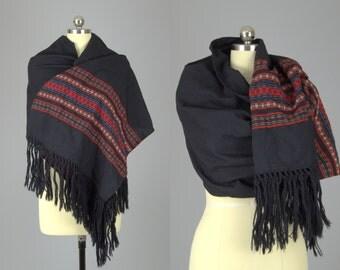 70s Guatemalan Shawl Cotton Woven Bohemian Ethnic Wrap