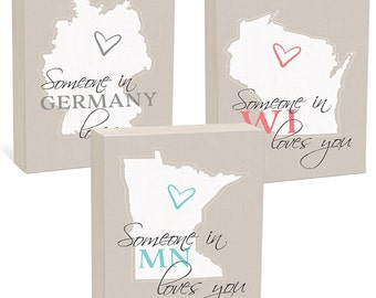"""Custom Gift - Custom State or Country Woodblocks - Ready to Hang - 4 sizes, 5""""x7"""", 6""""x8"""", 8""""x8"""", 12""""x12"""""""