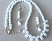White Pearls & Tear Drops Necklace and Earring Set - WEDDING SPECIAL, Handmade Original Fashion Jewelry, Classic Elegant Custom Bridal Gift