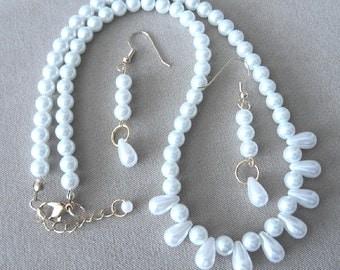 WEDDING SPECIAL White Pearl & Tear Drop Necklace w/Earrings, Simple Pearl Wedding Jewelry, Pearl Jewelry Set, Necklace Set, Handmade Jewelry