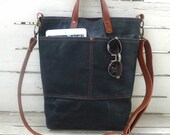 Free Express Shipping Black Waxed Canvas Tote Bag  Removable leather strap -  Shoulder bag / Tote Bag / Diaper Bag /School bag