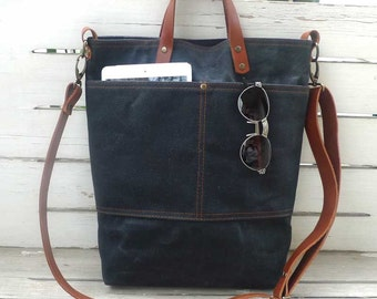 Black Waxed Canvas Tote Bag  Removable leather strap -  Shoulder bag / Tote Bag / Diaper Bag /School bag