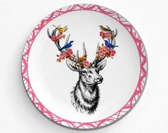 "Floral Deer Butterfly Bird, Melamine Plate, Kitchen, decorative plate, gift, Dinner Plate, 10"" plate, Picnic"