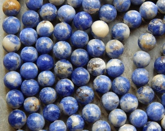 8mm Sodalite Natural Round Polished Gemstone Beads, Half Strand (N2-IND1C01)