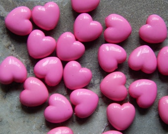 10mm Dark Pink Acrylic Heart Beads, 25 PC (INDOC7)