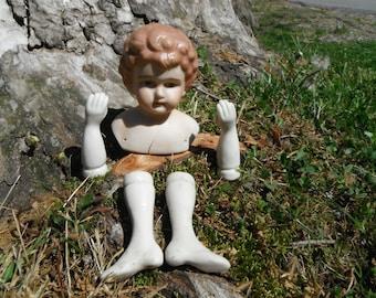 Vintage Porcelain - Bisque Doll Parts - Head Arms Legs - Altered Art Parts