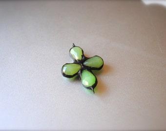 Milky Green Crystal soldered pendant cross