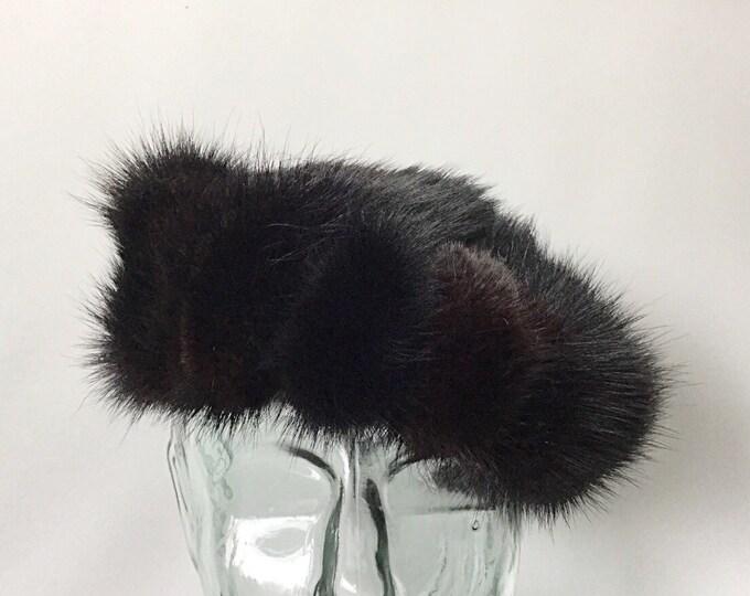 Vintage Dark Brown Mink Fur Hat. Union Made Fur Hats. Luxurious Hat. Dark Mink Hat. Winter Hat. Vintage Evening Fur Hat.