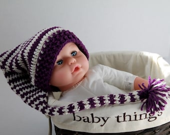 Crochet Elf Hat, Toddler Hat - Purple and White