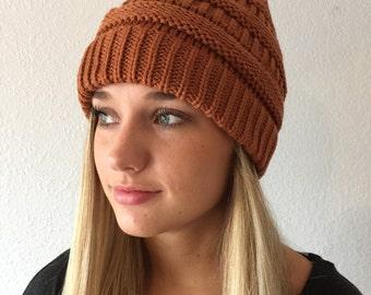 Orange Brick Color Knit Beanie Hat