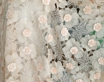 3D Flower Lace Fabric with Blush Applique Rosette, Fabric by Yard