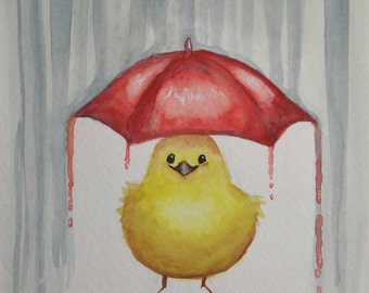 Yellow Bird Art - Bird Art Print - Red Umbrella - Rain Art - Baby's Room - Nursery Art - Happy Bird - Watercolor Poster - Childrens Room
