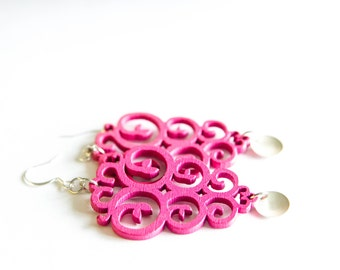 Hot Pink Swirl Dangles With Silver Charm