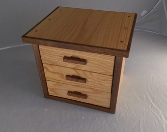 Jewelry cabinet, small storage chest with drawers from walnut and oak