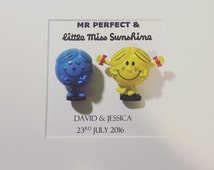 Mr Men and Little Miss Wedding Couple Engagement Frame. Marriage.  Personalised . Mr Perfect, Little Miss Sunshine. Box Frame