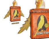mixed media assemblage, CANARY, art doll, anthropomorphic, bird ornament, Spring decoration, by Elizabeth Rosen