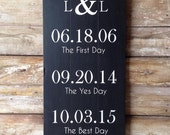 Important dates painted on reclaimed barn wood. Wedding gift, anniversary gift.