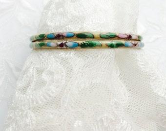 Vintage Cloisonne Cuff Bracelets, Lot of 2, Floral Enamel Bracelet, HALF OFF Sale, Item No. B192
